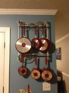 Kitchen Wall Rack Pots Pans by Easy Diy Pot Pan Rack Made Out Of Pipes Pot Racks