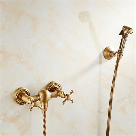 Faucet Antique Solid Brass Tube Cold And Hot Water Shower