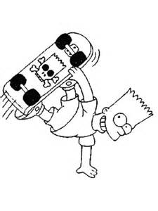 Coloriage Bart qui fait du skateboard Coloriages à imprimer gratuits
