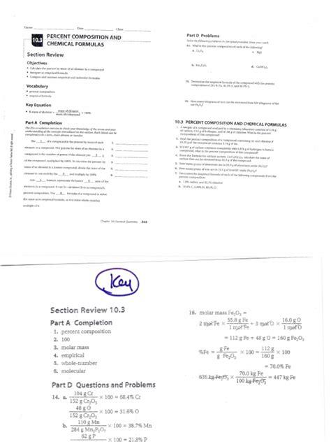 Percentage Composition Worksheet Answer Key