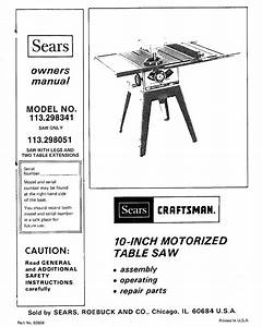 Craftsman 113298051 User Manual Sears 10 Inch Motorized