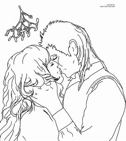 Coloring Pages Mistletoe Kiss Christmas Under Kissing
