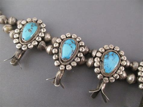 Morenci Turquoise Squash Blossom Necklace - Antique 1950's