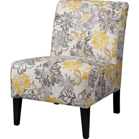 bridey accent chair with grey and yellow floral pattern