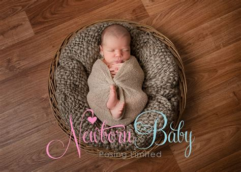 large  basket newborn baby posing limited