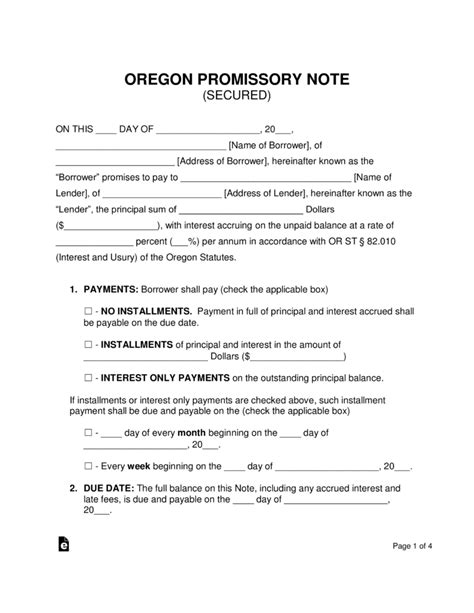 Promissory Note Template Free Oregon Secured Promissory Note Template Word Pdf