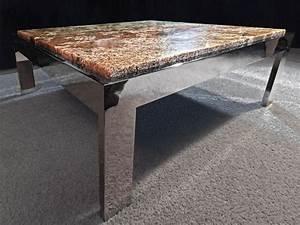 vtg mid century modern chrome metal marble granite coffee With marble granite coffee tables