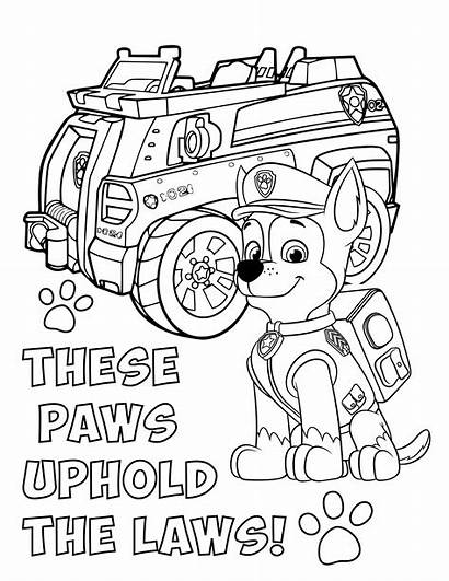 Paw Patrol Coloring Pages Chase Printable Pawpatrol