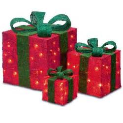 set of 3 sparkling red sisal gift boxes lighted christmas yard art decorations christmas