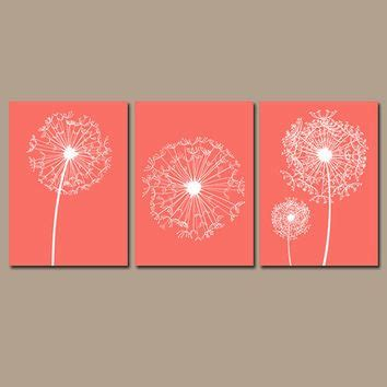 wall decor ideas for bedroom dandelion wall flower artwork coral custom colors