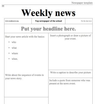 basic newspaper template newspaper template by exploring language arts teachers