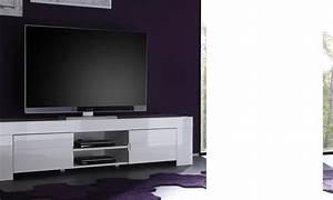 Meuble Tv Blanc Laqué : meuble tv hifi design elios coloris blanc laqu disponible en 2 dimensions ~ Teatrodelosmanantiales.com Idées de Décoration