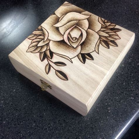 rose pyrography project  cigar box  stacie becker