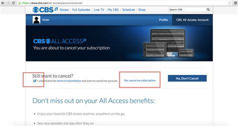cancel cbs  access truebill