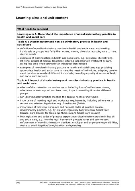 Equality and diversity specification