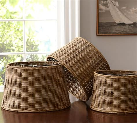 Wicker Chandelier L Shades by Woven Wicker Tapered Drum L Shade Pottery Barn