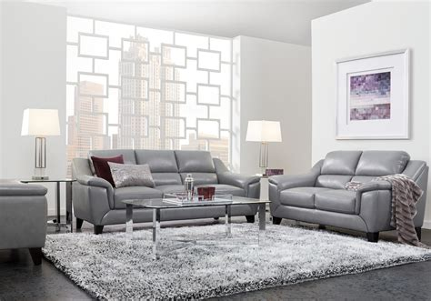marielle gray leather  pc living rooms    images