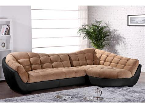 canapé angle tissu et cuir 2 coloris bicolores leandro