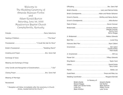 Program Templates by Wedding Program Template 9