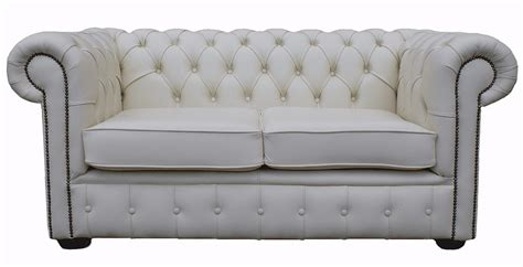 White Leather Sofa Ebay by Chesterfield Traditional 2 Seater White Real Leather Sofa