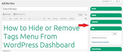 How To Hide Or Remove Tags Menu From Wordpress Admin
