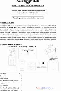 Avanti Hearth Z60 Fireplace Remote Control System User