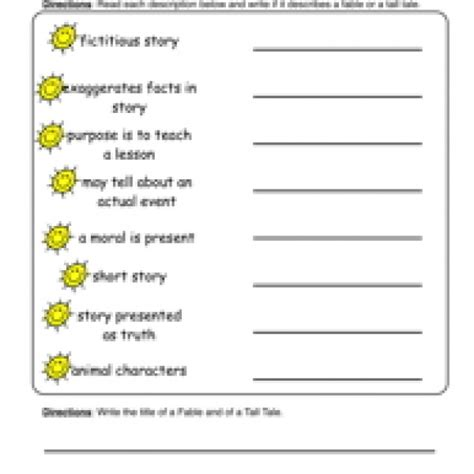 fables tales worksheet