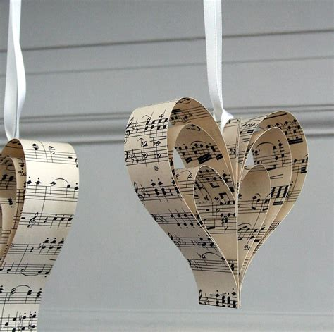 Print and download heart of stone sheet music from six: Handmade Sheet Music Heart Decoration By Made In Words ...