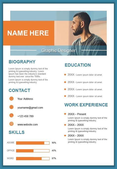 graphic designer resume design template curriculum vitae  powerpoint  diagrams