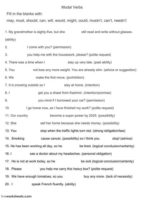 modal verbs online worksheet and pdf