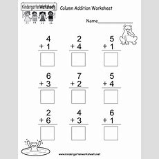 Column Addition Worksheet  Free Kindergarten Math Worksheet For Kids