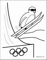 Coloring Ski Winter Cartoon Penguin Jumping Olympics Olympic Jump Pages Cute Abcteach Sport sketch template
