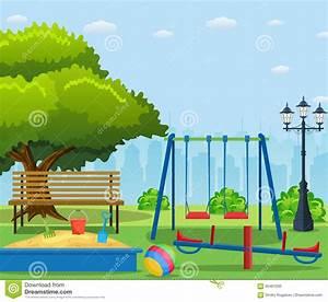 Kids Playground Cartoon Concept Background. Stock Vector ...
