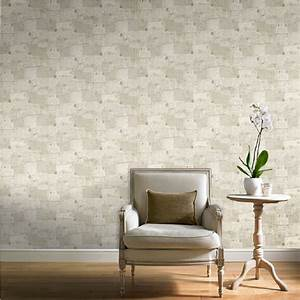 Ideco Home Postcards Vintage Retro Beige Wallpaper POB