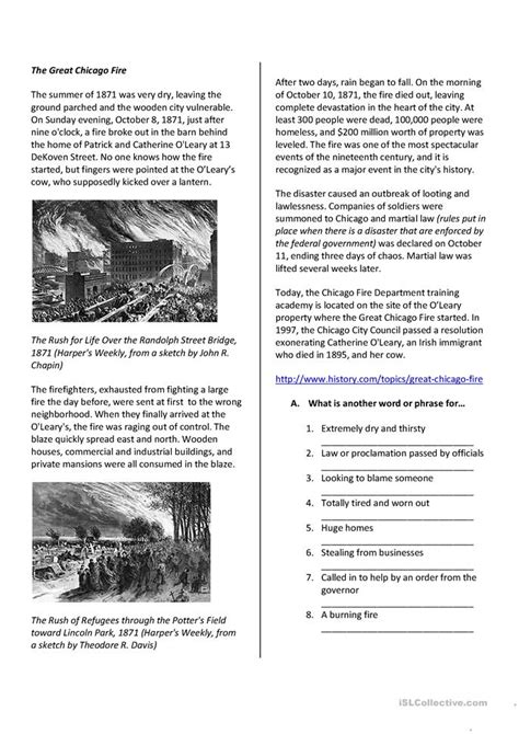 reading comprehension  great chicago fire worksheet