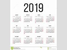 Kalendarz 2019 Rok Projekta Wektorowy Szablon Ilustracja