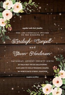 sparkling rustic floral wedding invitation template