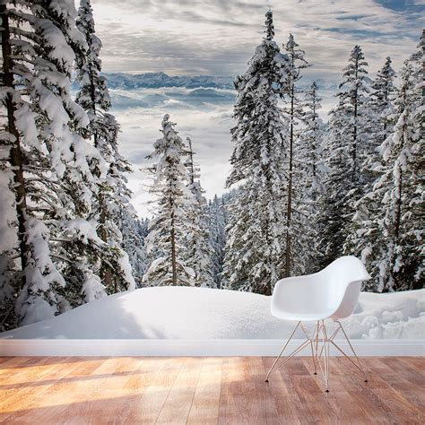 alps winter forest wallpaper removable winter forest mural