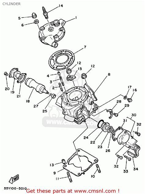 yamaha yz125 1985 f usa cylinder schematic partsfiche