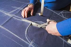 Tailor, Cutting, Fabric, With, Scissors, Stock, Image