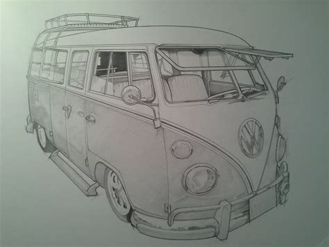 volkswagen old van drawing timelapse pencil sketch vw cer van youtube