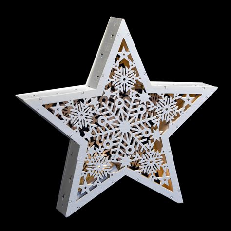 white star standing led light  christmas cut  wood