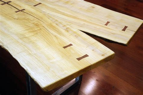 Hand Made Natural Edge Salvaged Maple Slab Dining Table