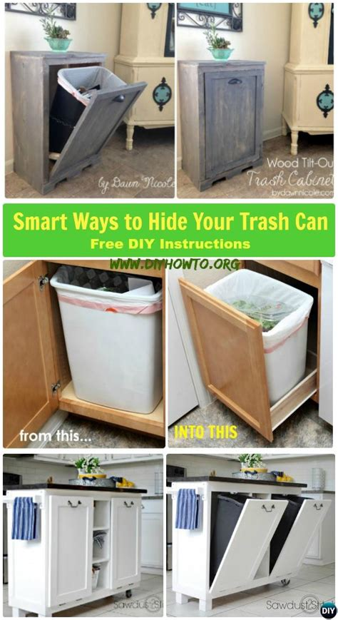 diy trash  cabinet projects instructions