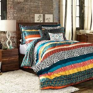 Full, Queen, Bohemian, Comforter, Set, Indie, Design, Stripe