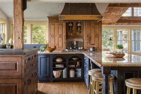 farmhouse 2 tone kitchen cabinets distressed rustic alder cabinetry kitchen rustic with