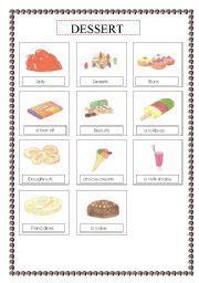 list of dessert names worksheet food dessert voc list