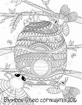Bee Coloring Honey Pages Printable Adult Hive Bees Print Hives Digital Colouring Sheets Drawn Illustration Hand Instant Books Etsy Colour sketch template