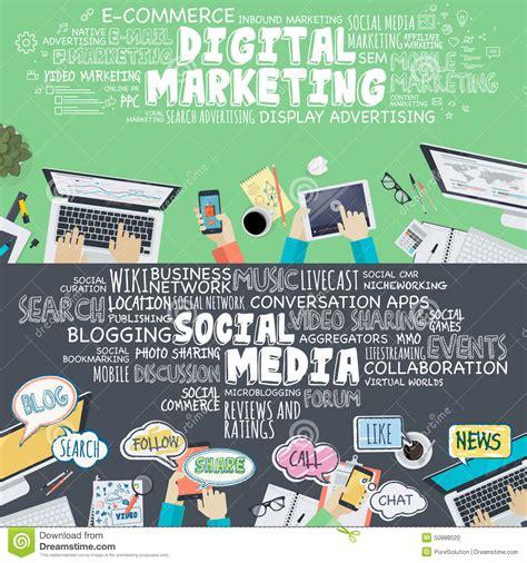 Digital Marketing Materials by Set Of Flat Design Illustration Concepts For Digital