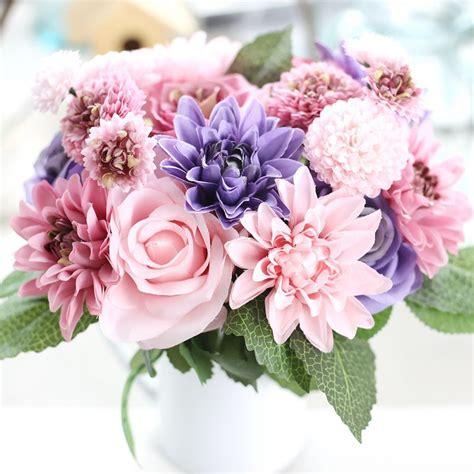 hot silk flower wedding bouquet roses dahlias artificial